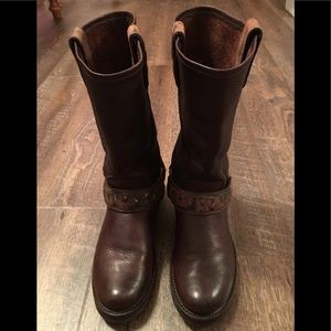FRYE Veronica Harness Moto Boots Brown Sz 6.5